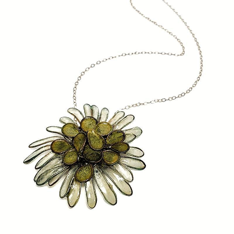Necklace - Flower Moss Green by Verso Jewelry