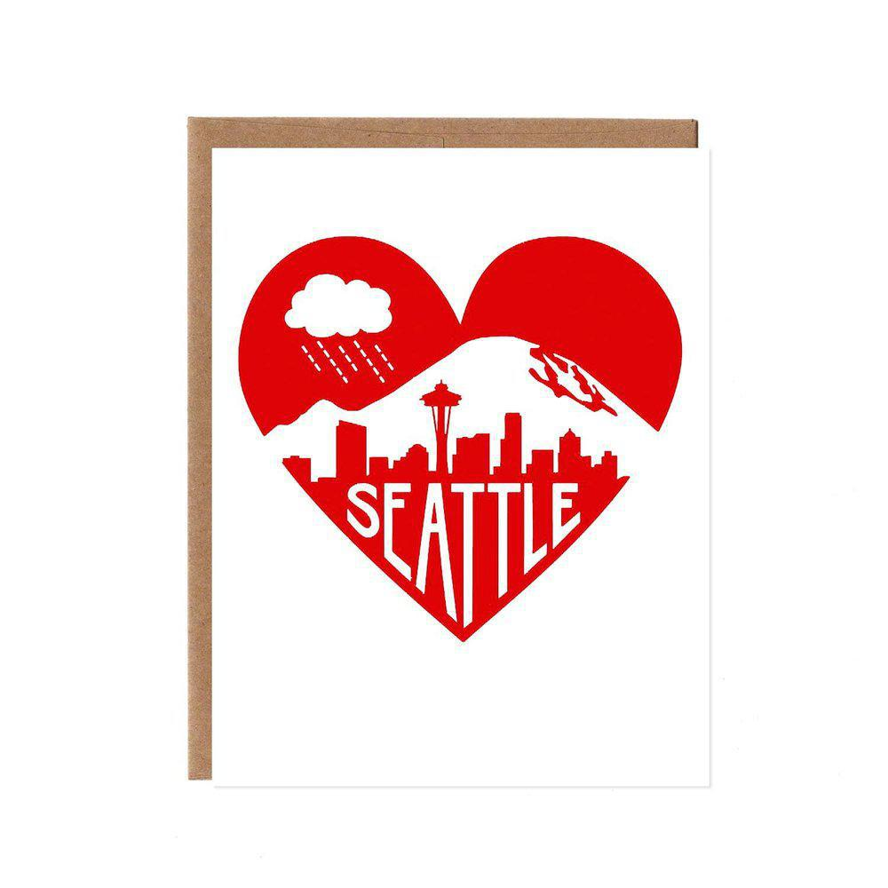 Card - Seattle - Seattle Heart Red by Orange Twist