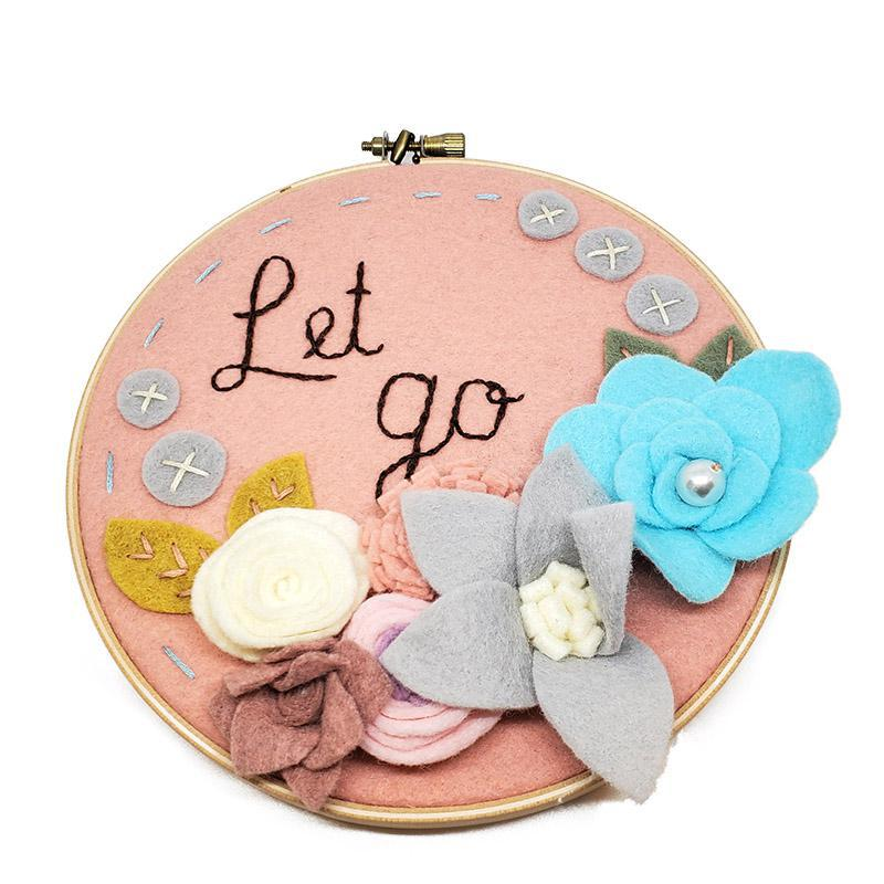 Hoop Art - Let Go Pink Floral 6in by Catshy Crafts