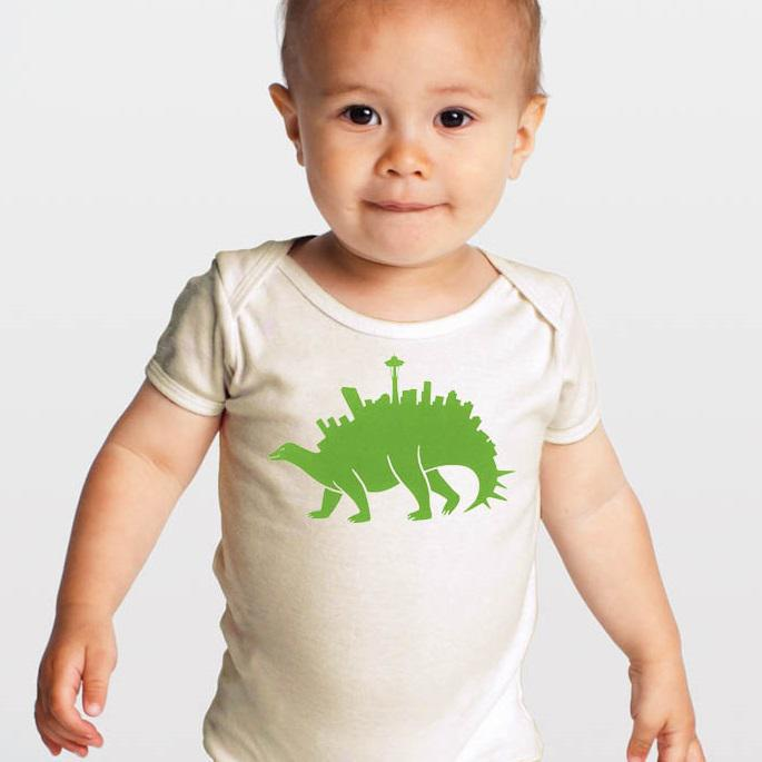 Romper - Green Seattlesaurus by Orange Twist