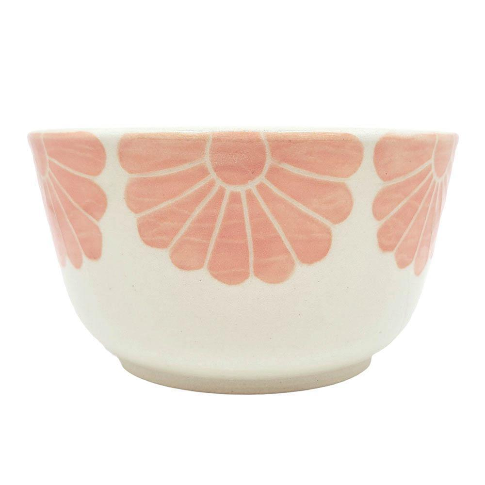 Planter - Small Flowers Pink Bowl Shape by Sarah Bak Pottery