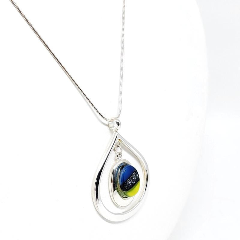 Necklace - Teardrop Green Blue by Glass Elements