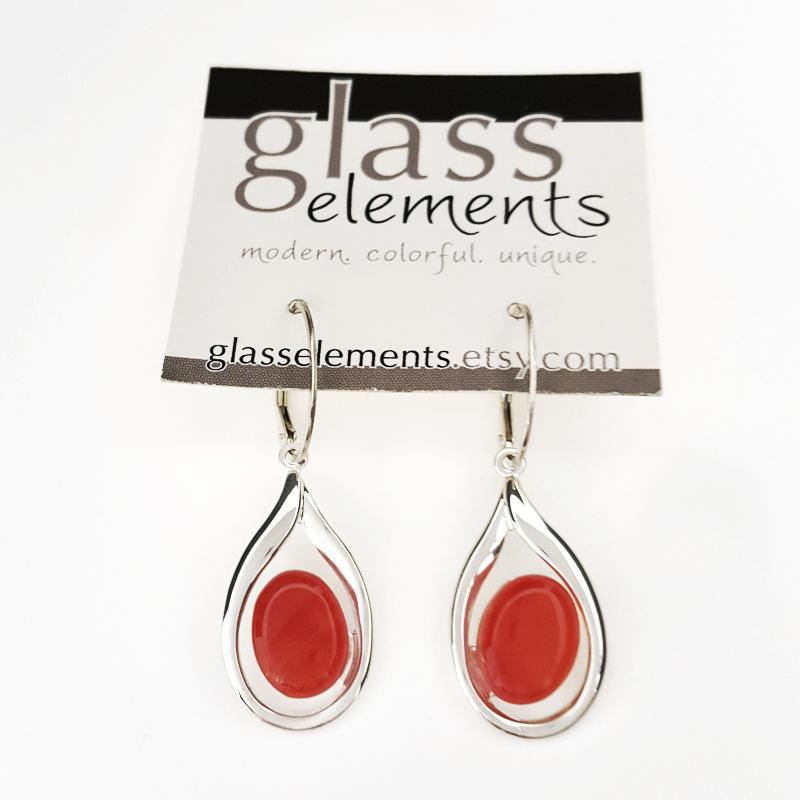Earrings - Fiery Orange Fancy Teardrop by Glass Elements