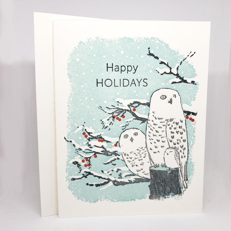 Card - Holiday - Snowy Owls Happy Holidays by Ilee Papergoods