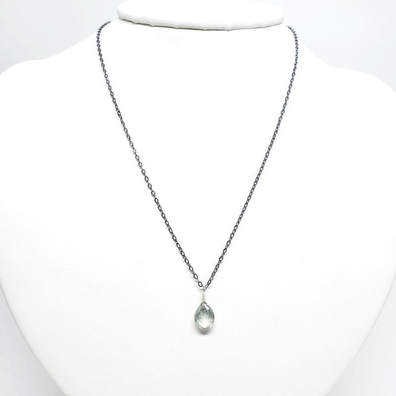 Necklace - Gemstone Drop Moss Aquamarine by Foamy Wader