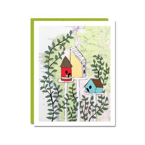 Card - Housewarming - Bird Houses by Rachel Austin Art