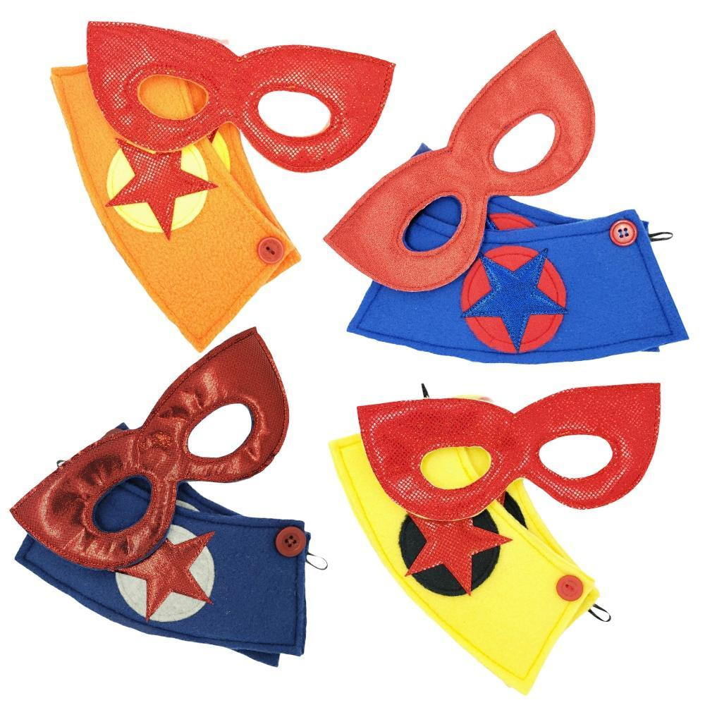 Superhero Mask and Cuff Sets – Red and Pink Masks (Assorted Styles) by World of Whimm