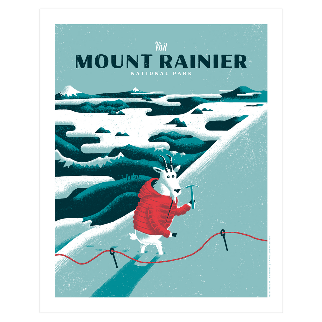 Art Print - 16x20 MOUNT RAINIER NATIONAL PARK Limited Edition Posters and Prints by Factory 43