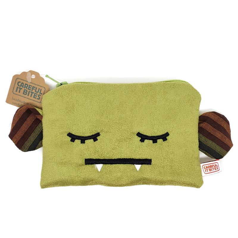 Pouches - Green Side Ears Sleepy Head by Careful It Bites