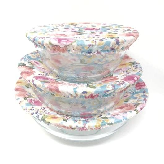 Bowl Covers - Lovely Floral Set of 3 by Semi-Sustainable Goods
