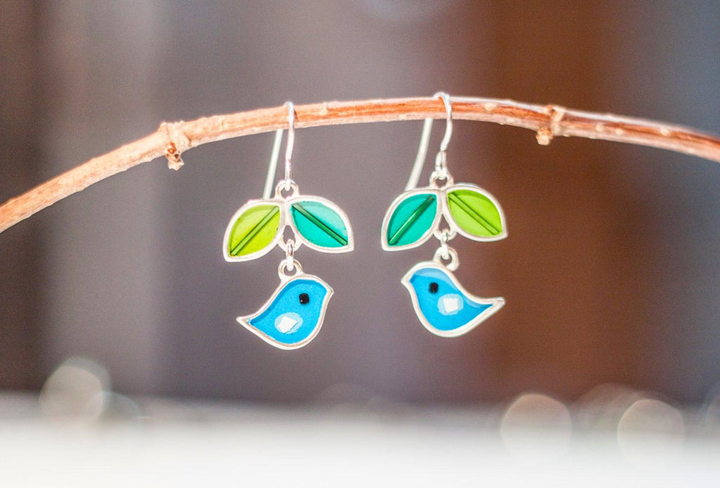 Earrings - Blue Green Birds Leaf by Happy Art Studio