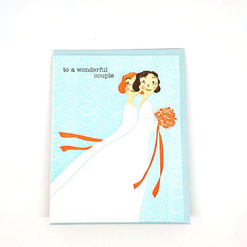 Card - Wedding - Brides To a Wonderful Couple by Ilee Papergoods