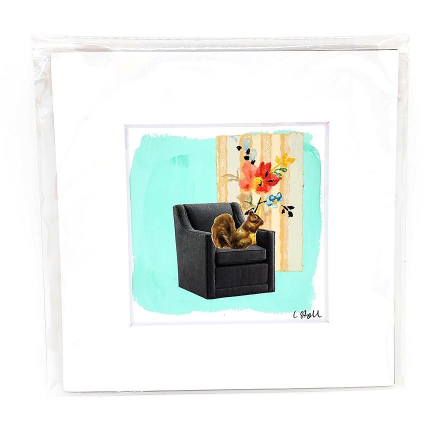 Collage (unframed) - 4x4 - Squirrel (6x6 mat) Creature Comforts by Christine Stoll Studio