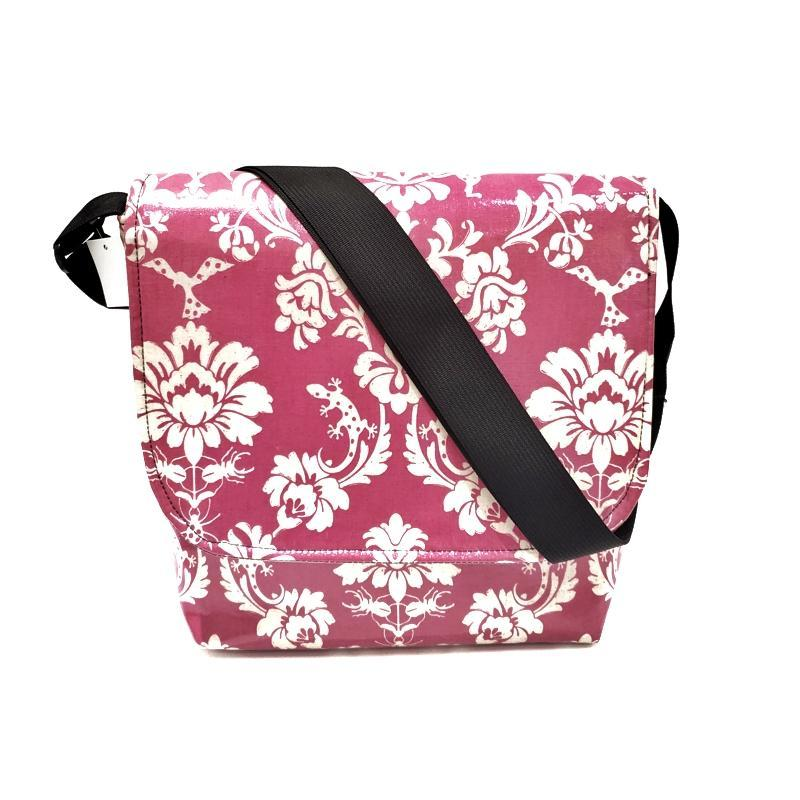 Tall Messenger Bag - Bright Pink Animal Damask by Laarni and Tita