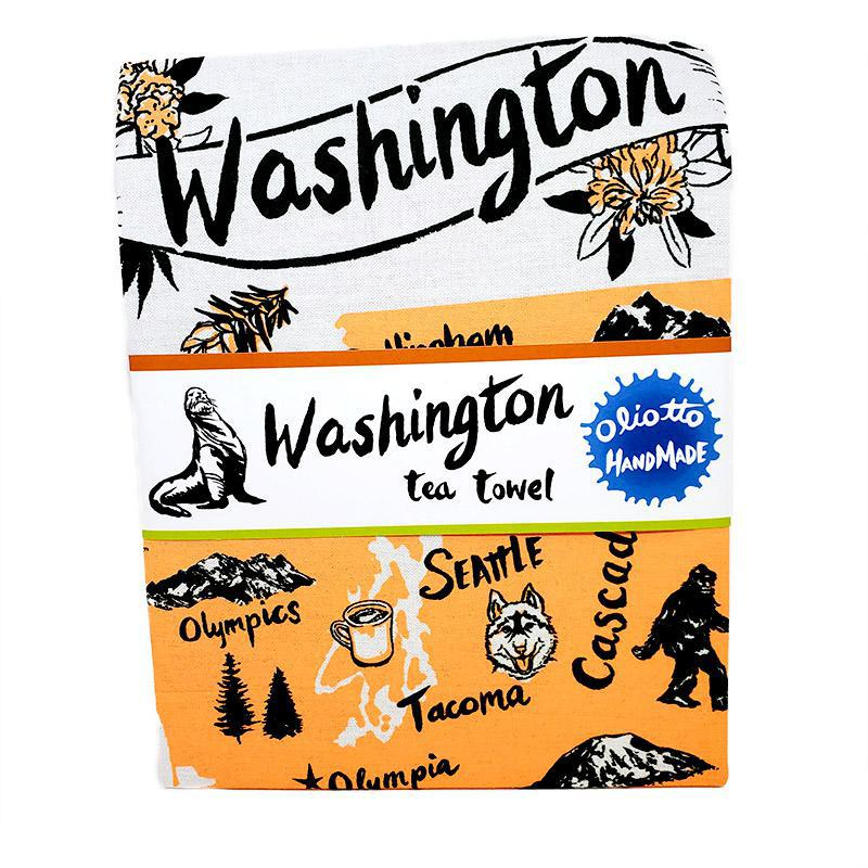 Tea Towel - Washington State (Orange or Teal) by Oliotto