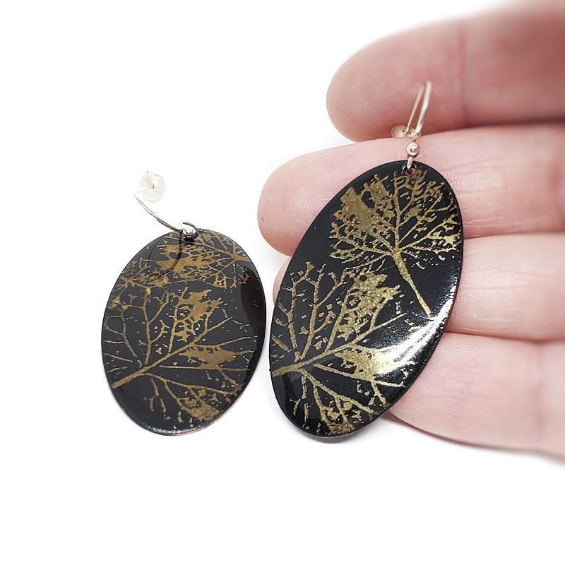 Earrings - Black Gold Leaf Large Oval by Magpie Mouse Studios