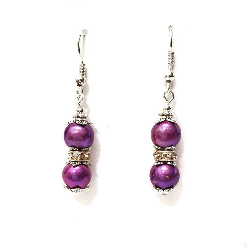 Earrings - Magenta FW pearls Silver plate by Tiny Aloha
