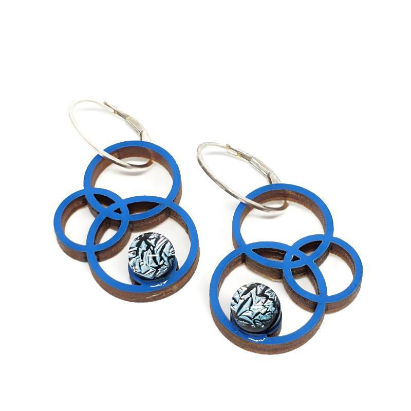 Earrings - Small Orbit Blue Maple Ice Blue by Glass Elements