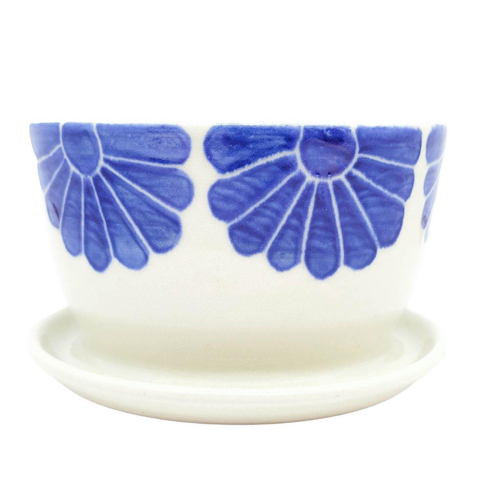 Planter - Small Flowers Blue Bowl with Tray by Sarah Bak Pottery