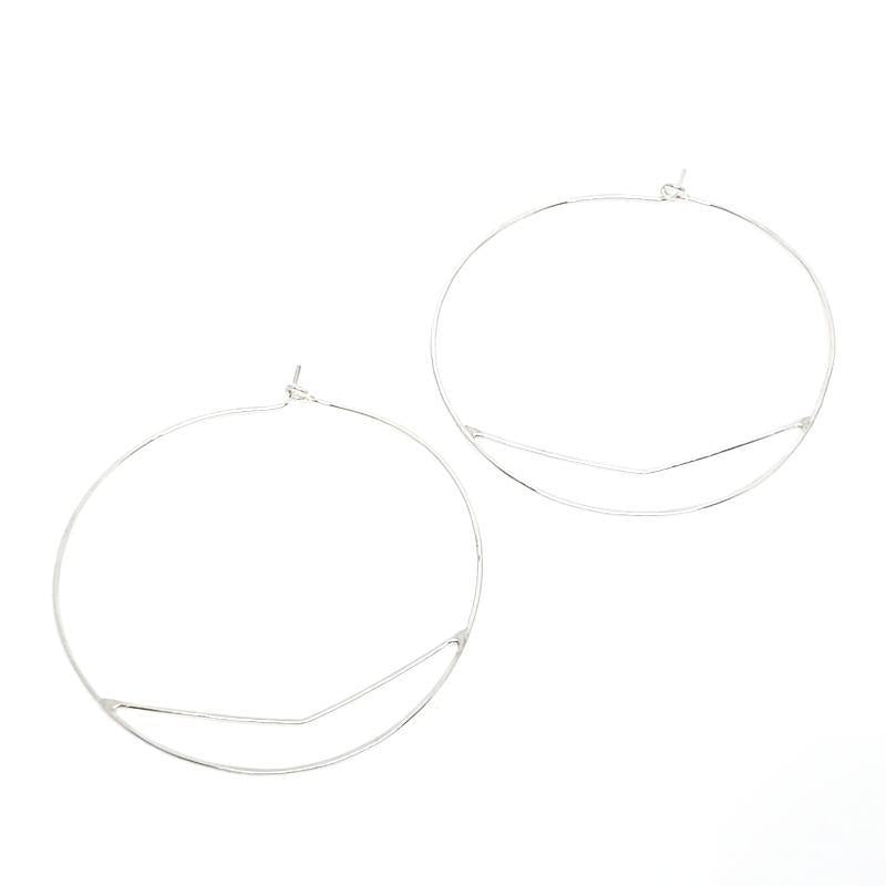 Earrings - Sterling Silver Large Chevron Hoops by Verso Jewelry