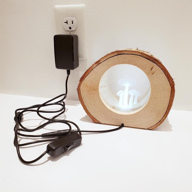 Lamp - Small Round Birch Night Light White Mushrooms by Sage Studios