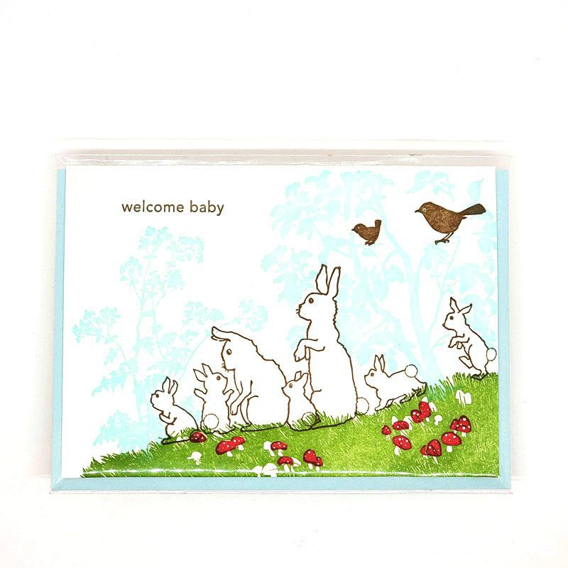 Card - Baby - Rabbits Welcome Baby by Ilee Papergoods