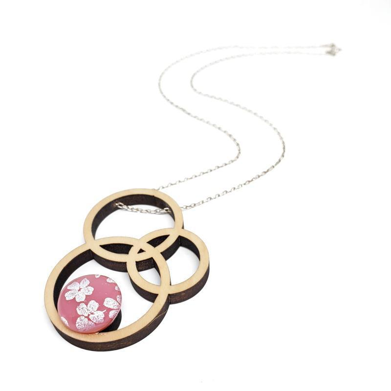 Necklace - Large Orbit Pink Silver Flowers by Glass Elements