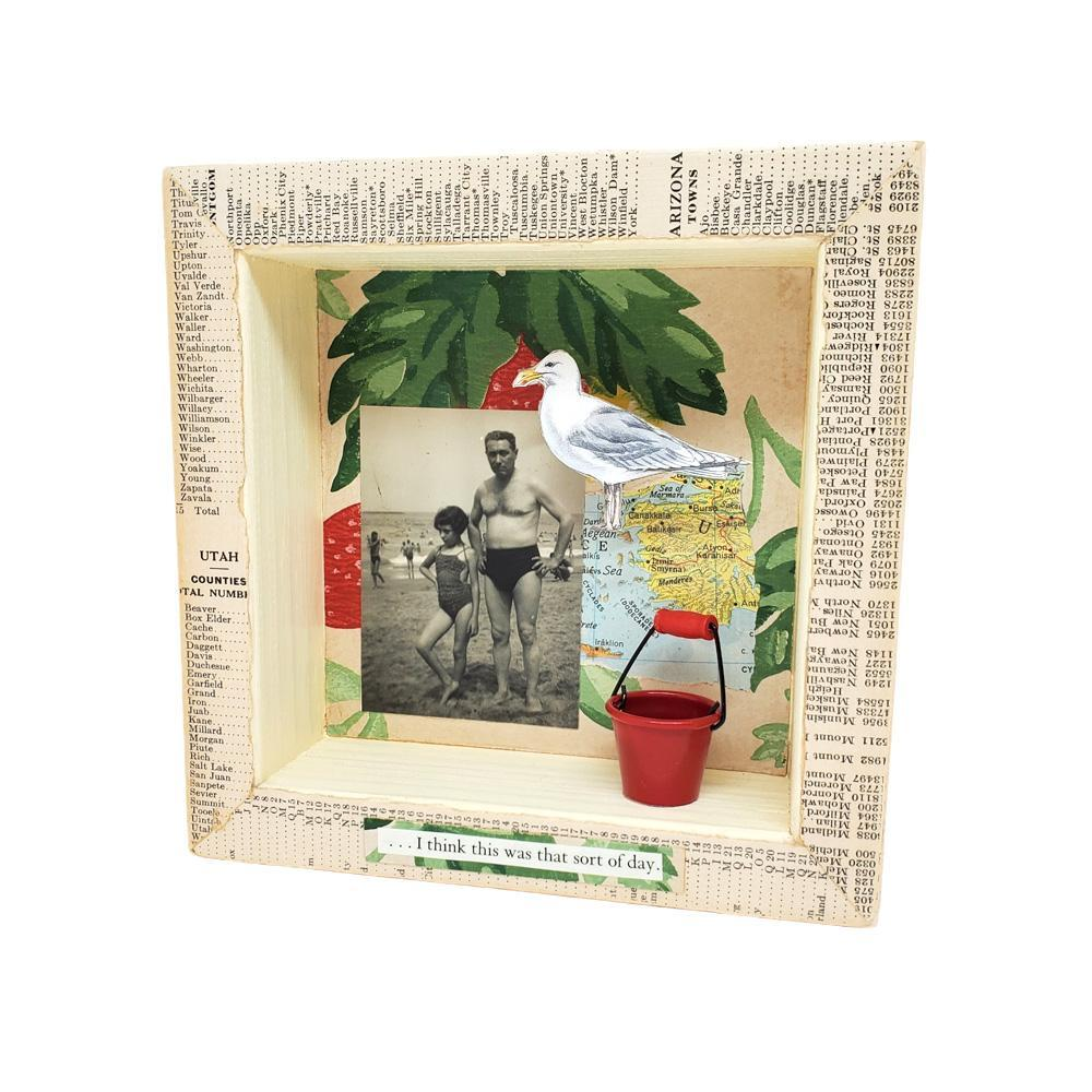 Shadowbox #3 - 6x6 - Life's a Beach (seagull) Collage by Christine Stoll Studio