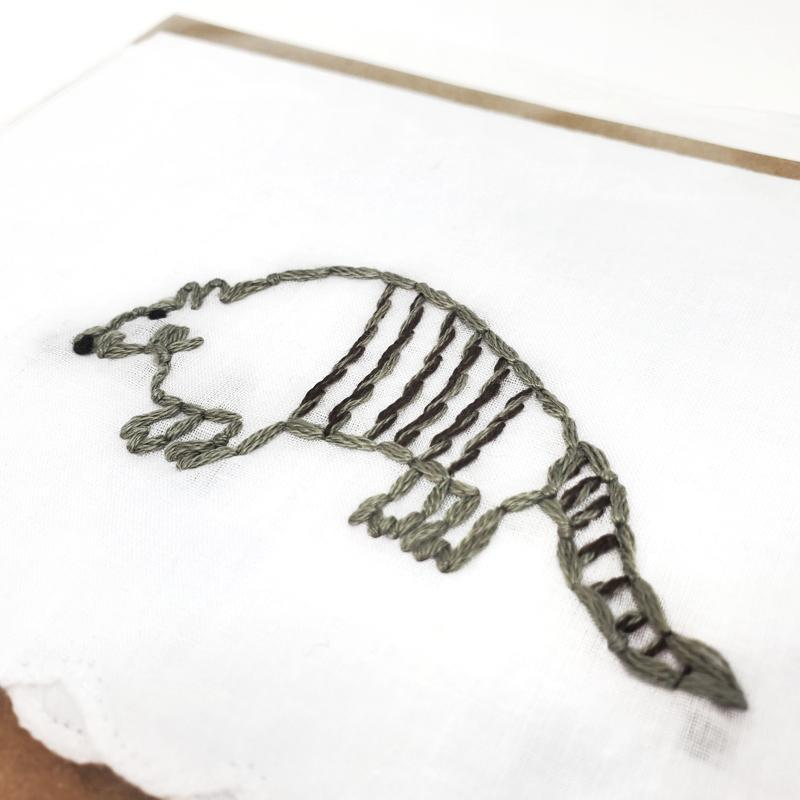 Hankie - Embroidered Armadillo (Assorted Colors) by Wren Bird Arts