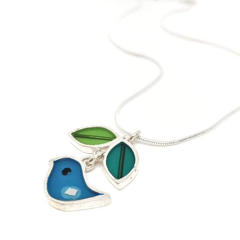 Necklace - Turquoise Bird Leaf by Happy Art Studio