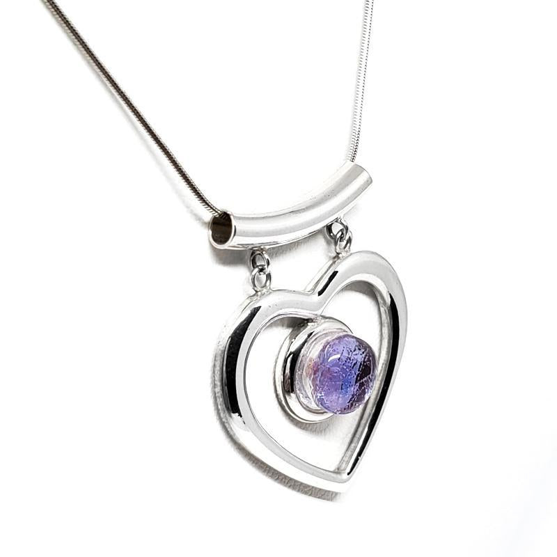 Necklace - Icy Periwinkle Heart by Glass Elements