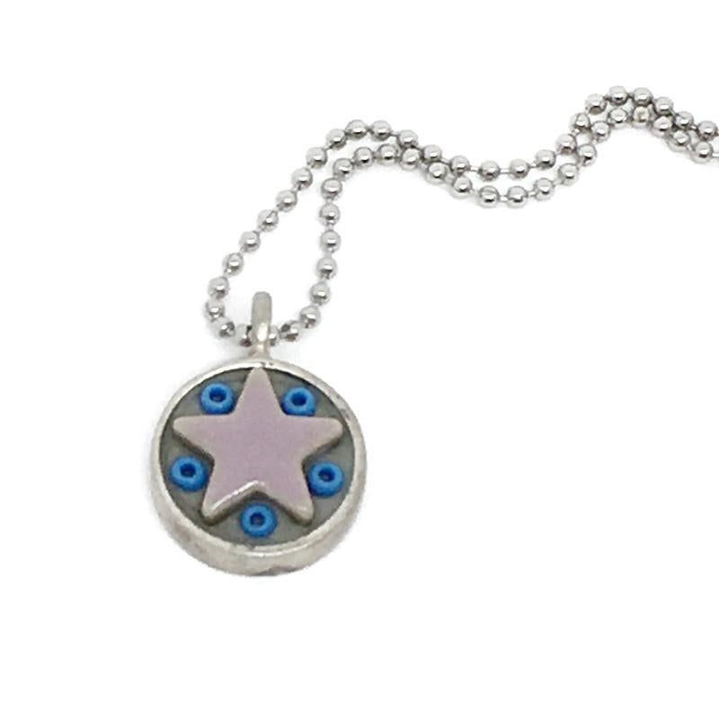 Necklace - Star Baby - Lavender Star Blue Beads by XV Studios