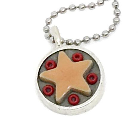 Necklace - Star Baby - Orange Star Red Beads by XV Studios
