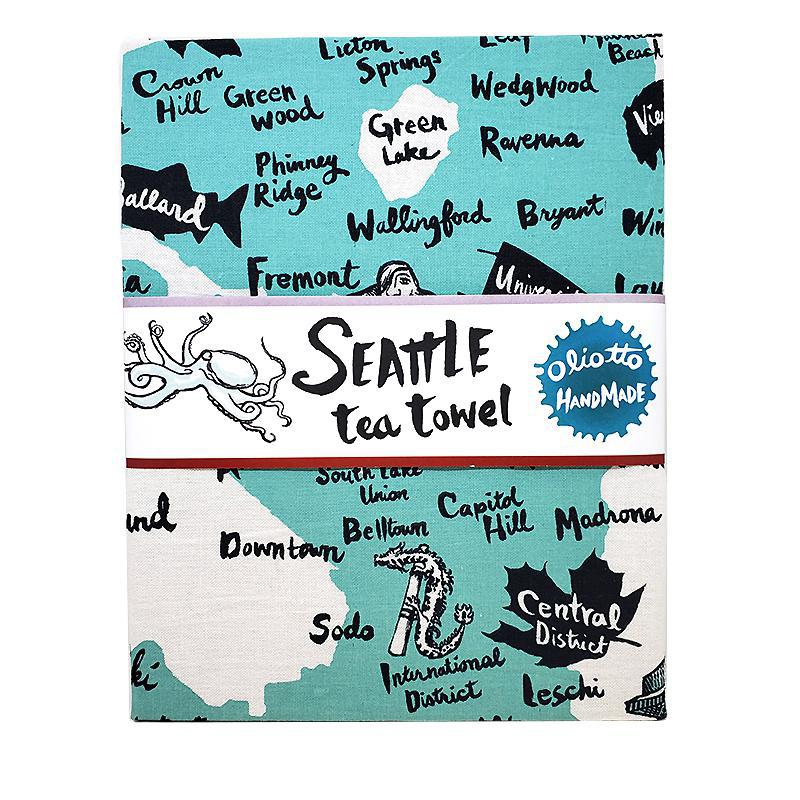 Tea Towel - Seattle Mint Blue by Oliotto