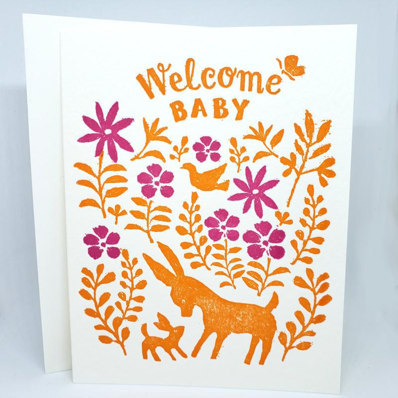 Card - Baby - Otomi Animals Welcome Baby by Ilee Papergoods