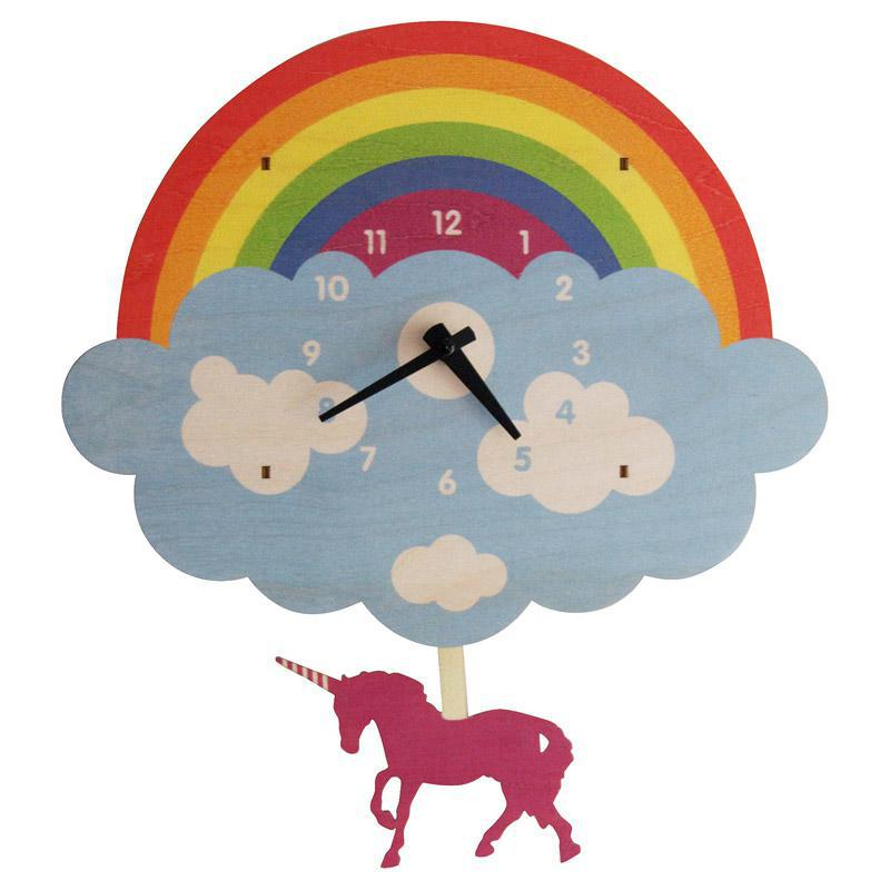 Clock - Rainbow Unicorn Pendulum by Modern Moose