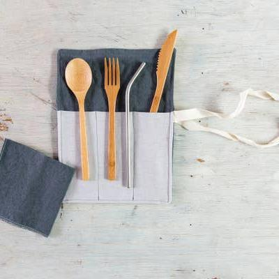 Utensil Wrap - Cutlery, Straw and Napkin (Assorted Colors) by Dot and Army