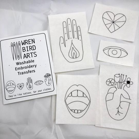 Mending Transfers - Hand and Heart Embroidery Set by Wren Bird Arts