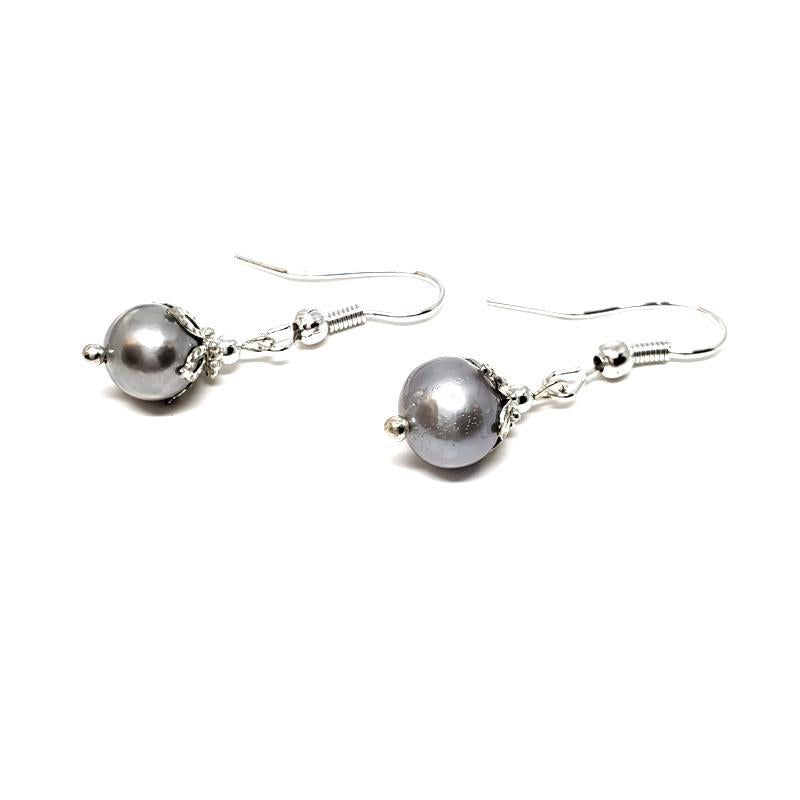 Earrings - Short grey FW pearls Silver plate by Tiny Aloha