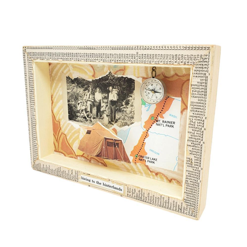 Shadowbox #4 - 5x7 - We're Not Lost, You're Lost (compass) Collage by Christine Stoll Studio