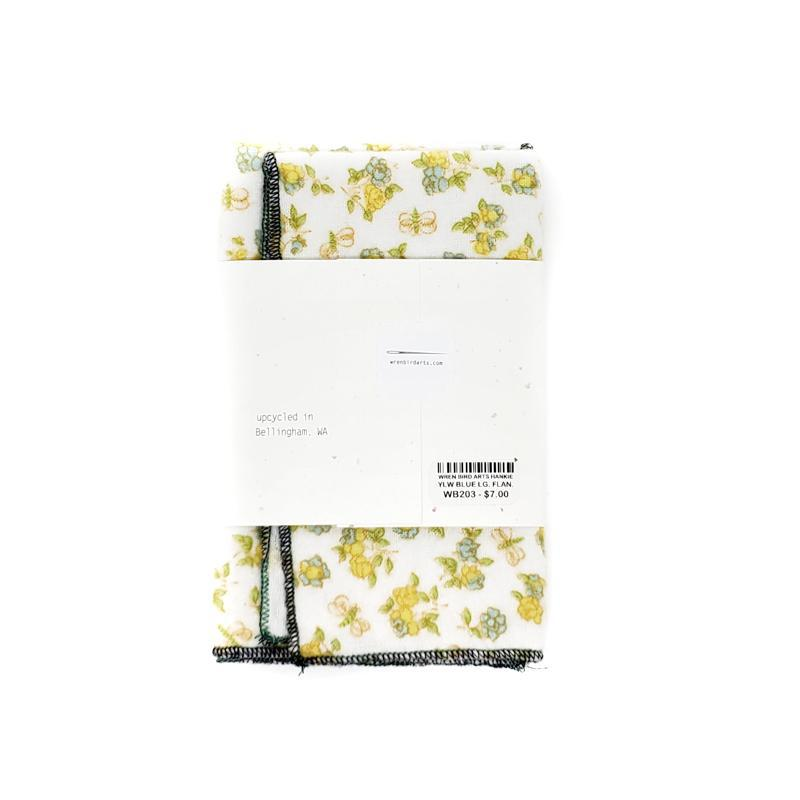 Hankie - Large Flannel Yellow and Blue Floral by Wren Bird Arts
