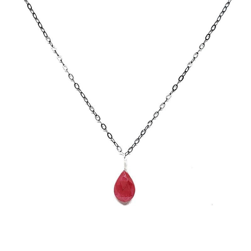 Necklace - Gemstone Drop Ruby by Foamy Wader