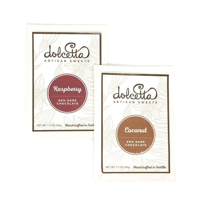 Gift Bundle - Chocolate Pair Raspberry and Coconut featuring Dolcetta Artisan Sweets