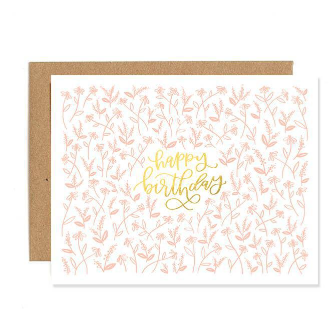 Card - Birthday Tiny Pink Floral Letterpress by 1 Canoe 2