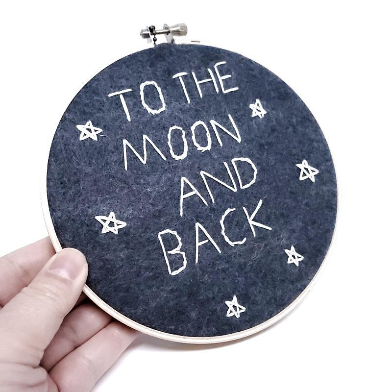 Hoop Art - To The Moon 6in by Catshy Crafts