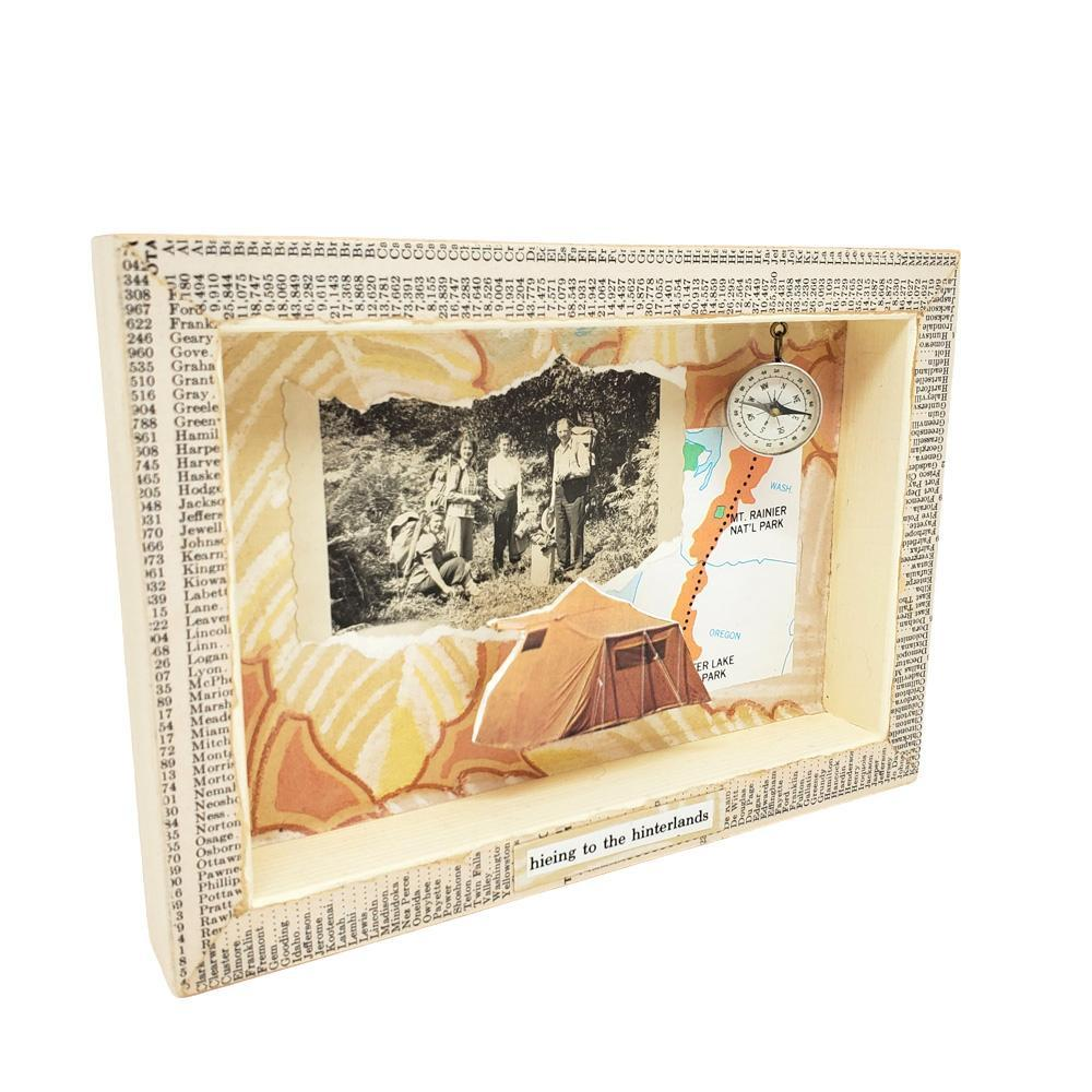 Shadowbox #4 - 5x7 - We're Not Lost, You're Lost (compass) Collage by Christine Stoll Studio (SOLD)