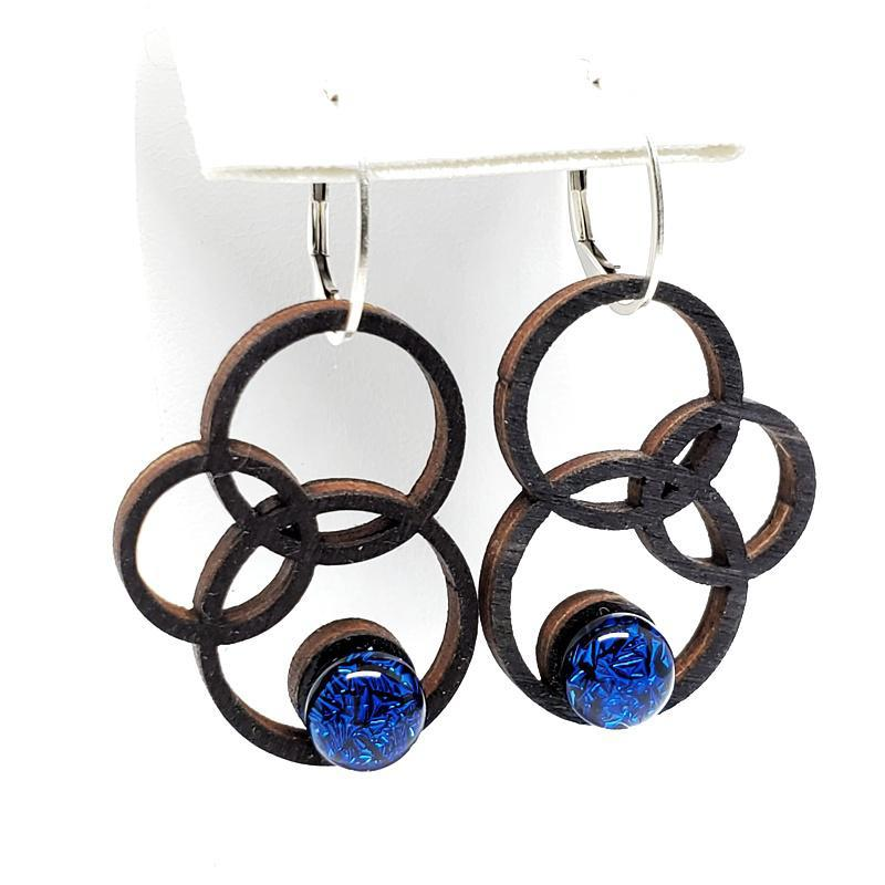 Earrings - Medium Orbit Black Maple Cobalt Glass by Glass Elements