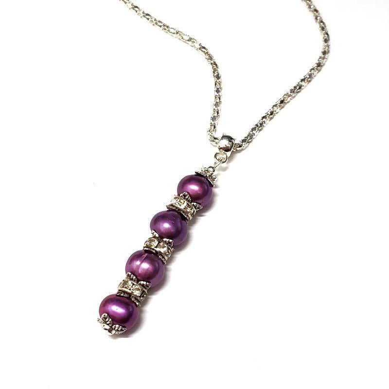 Necklaces - Magenta pearls drop Pendant Silver Plate chain by Tiny Aloha