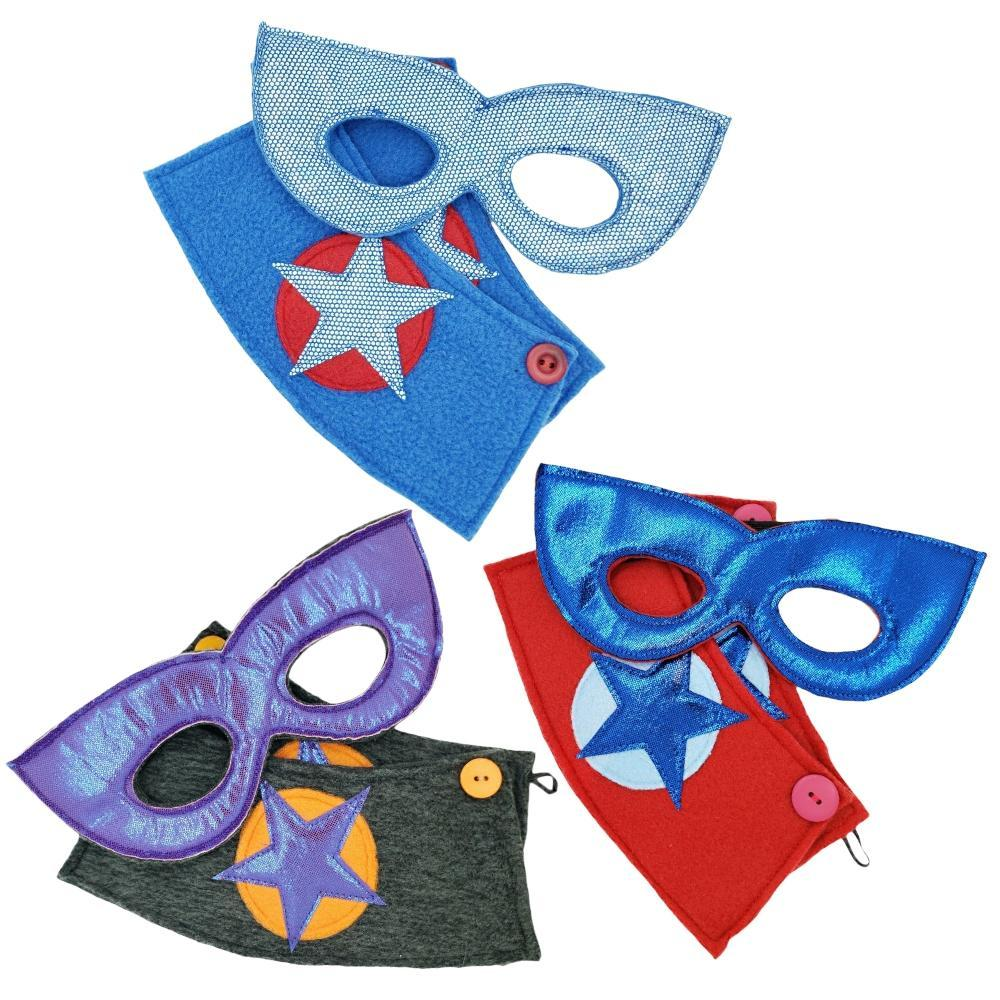 Superhero Mask and Cuff Sets – Blue and Purple Masks (Assorted Styles) by World of Whimm