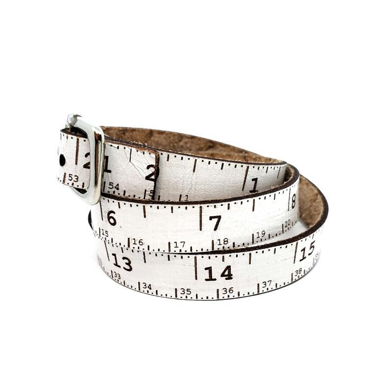 Bracelet - White Leather Tape Measure Wrap (2 sizes) by SXS Leather